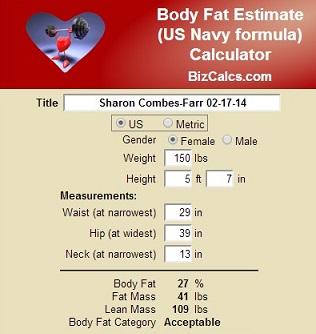 Navy Body Fat Calculation 86