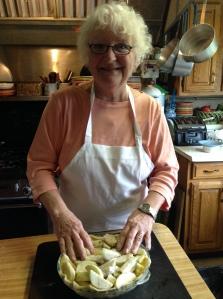 Mom making bag apple pie