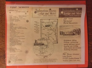 Tony saw this flyer in 1968 and decided it would be fun to scare up a group to go hunting in Vermont. The farm became the Combes Family Inn in 1978.